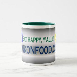 Eat Happy Y'all--HankOnFood.com Coffee Mug! Two-Tone Coffee Mug