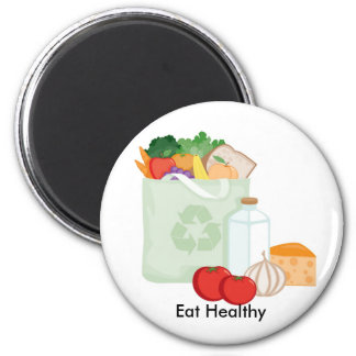 Eat Healthy 2 Inch Round Magnet