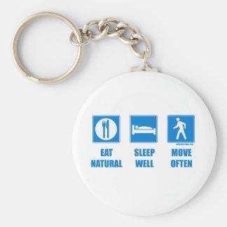 Eat healthy, sleep well, move often basic round button keychain