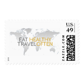 Eat Healthy Travel Often Postage