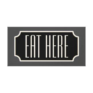 Eat Here Diner Sign Kitchen Canvas Art Gift Decor
