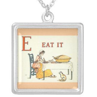 Eat it square pendant necklace