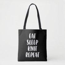 Eat Knit Sleep Repeat dark tote bag