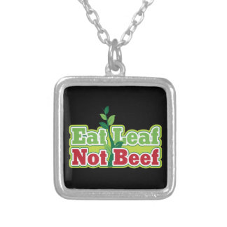 Eat Leaf Not Beef Silver Plated Necklace