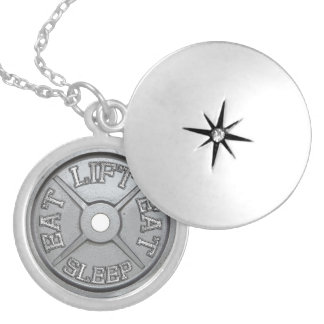 Eat, Lift, Sleep - Barbell Plate Round Locket Necklace