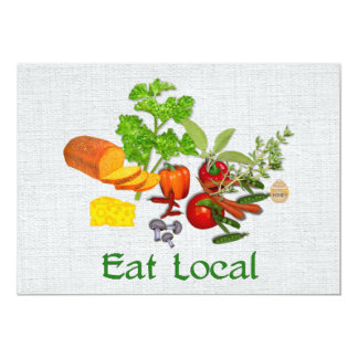 Eat Local 5x7 Paper Invitation Card