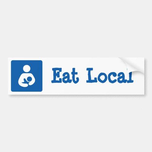 Eat Local Breastfeeding / Nursing Icon Bumper Sticker