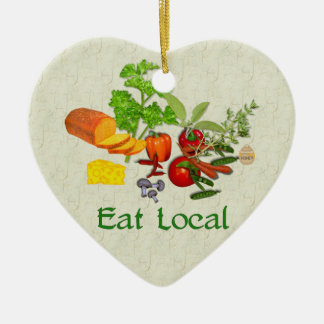 Eat Local Double-Sided Heart Ceramic Christmas Ornament