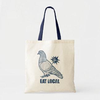 Eat Local, pigeon tote bag