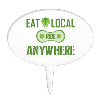 Eat Local, Ride Anywhere Cake Topper