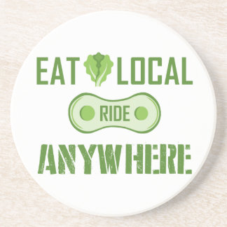 Eat Local, Ride Anywhere Sandstone Coaster