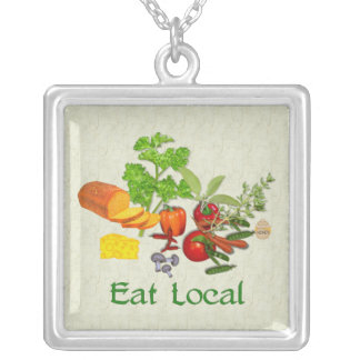 Eat Local Square Pendant Necklace