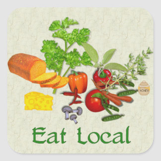 Eat Local Square Sticker