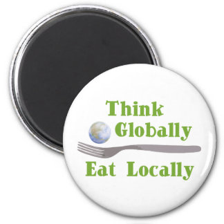 Eat Locally 2 Inch Round Magnet