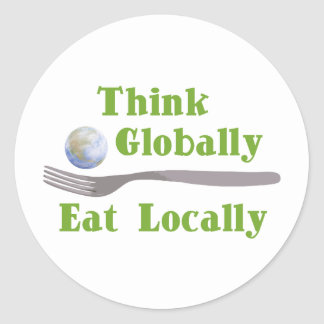 Eat Locally Classic Round Sticker