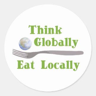 Eat Locally Round Stickers