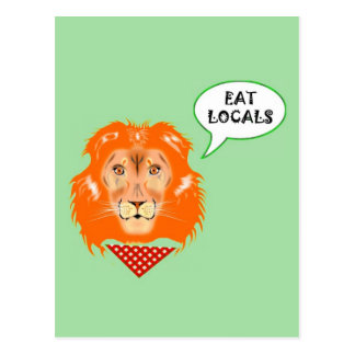 Eat Locals Funny Lion College Humour Cartoon Postcard
