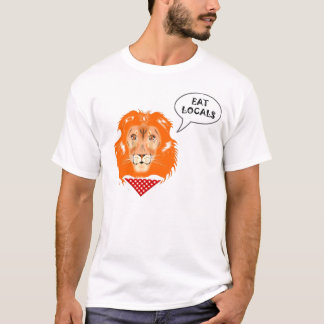 Eat Locals Funny Lion College Humour Cartoon T-Shirt