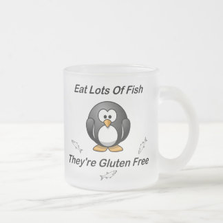 Eat Lots Of Fish, They're Gluten Free Frosted Glass Coffee Mug