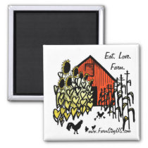 Eat Love Farm Barnyard Scene Magnet