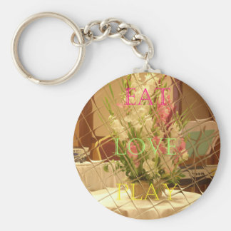 Eat Love Play Flowers for all beautiful seasonal o Keychain