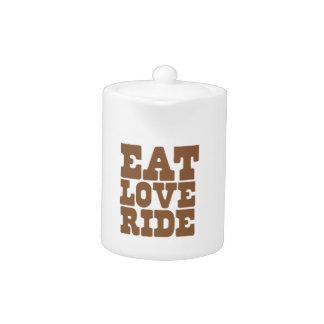 EAT LOVE RIDE Horse riding funny Teapot