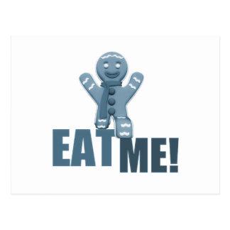 EAT ME! Gingerbread Man - Blue Postcard