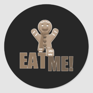 EAT ME! Gingerbread Man - Brown Sepia Classic Round Sticker