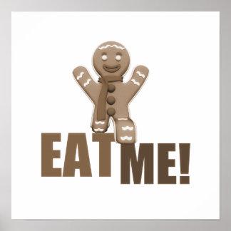 EAT ME! Gingerbread Man - Brown Sepia Posters