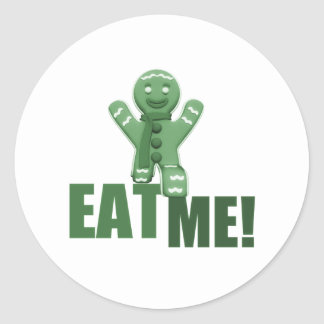 EAT ME! Gingerbread Man - Green Classic Round Sticker