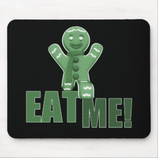 EAT ME! Gingerbread Man - Green Mouse Pad