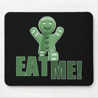 EAT ME! Gingerbread Man - Green Mousepad
