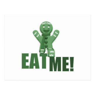 EAT ME! Gingerbread Man - Green Postcard