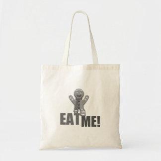 EAT ME! Gingerbread Man - Grey B&W Bags