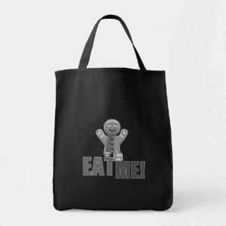 EAT ME! Gingerbread Man - Grey B&W Canvas Bags