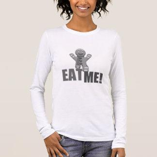 EAT ME! Gingerbread Man - Grey B&W Long Sleeve T-Shirt
