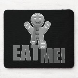 EAT ME! Gingerbread Man - Grey B&W Mouse Pad