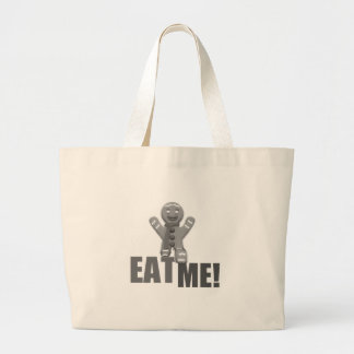 EAT ME! Gingerbread Man - Grey B&W Tote Bag