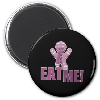 EAT ME! Gingerbread Man - Pink 2 Inch Round Magnet