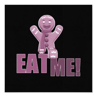 EAT ME! Gingerbread Man - Pink 5.25x5.25 Square Paper Invitation Card