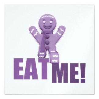 EAT ME! Gingerbread Man - Purple 5.25x5.25 Square Paper Invitation Card