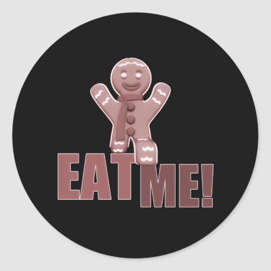 EAT ME! Gingerbread Man - Red Classic Round Sticker