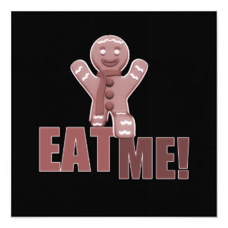 EAT ME! Gingerbread Man - Red 5.25x5.25 Square Paper Invitation Card