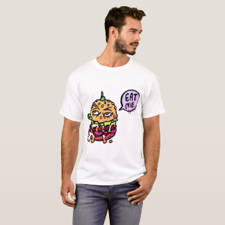 Eat Me Hamburger Cartoon Themed T-Shirt