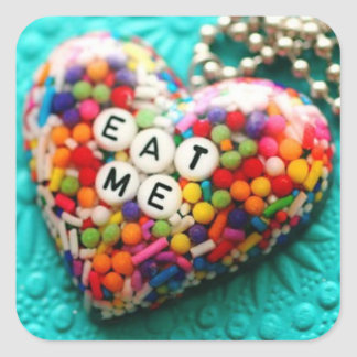 Eat me rainbow square sticker