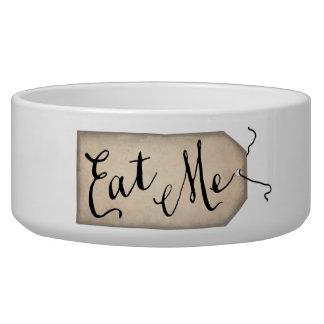 Eat Me Vintage Paper Tag Dog Bowl