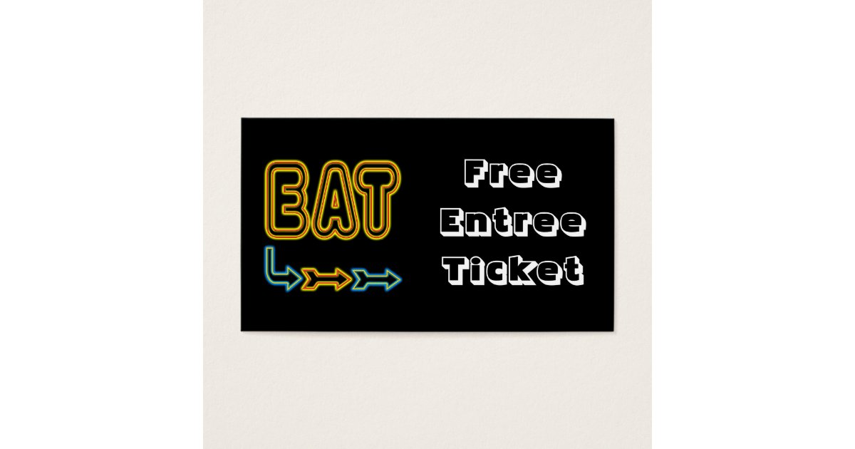 Eat Meal Ticket Custom Business Card Template – Meal Ticket Template