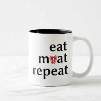 Eat meat repeat funny carnivore coffee mug