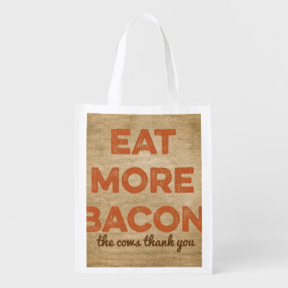 Eat More Bacon Burlap Background Grocery Bag
