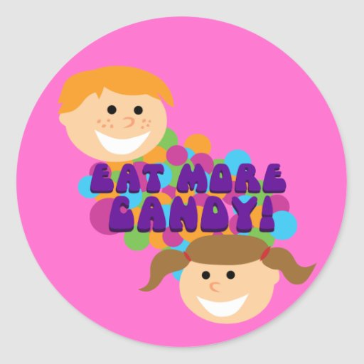 Eat More Candy Retro Kids Classic Round Sticker